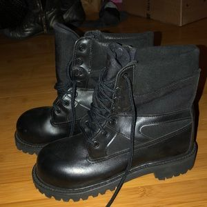 black combat boots made in USA vibram